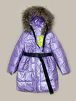 Куртка зимняя для девочки с поясом Delfin-free, размеры 128-152