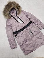 Куртка зимняя для девочки с поясом Delfin-free, размеры 140-164