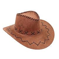 Ковбойская шляпа под замш, коричневая.