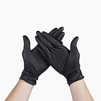 Перчатки из витрила M черные 100шт/уп