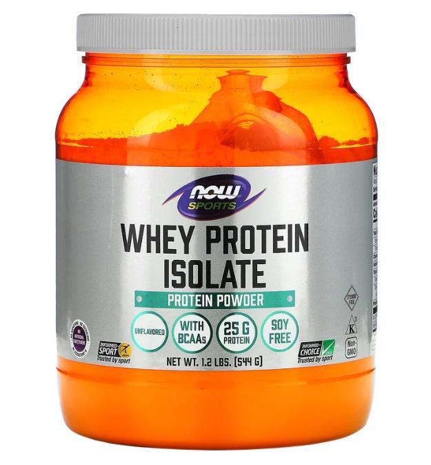 Now Foods, Sports, изолят сывороточного протеина, без добавок, 544 г (1,2 фунта)