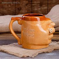 """Кружка для пива """"С дулей"""", под шамот, декорированная глиной, 0.5 л"""