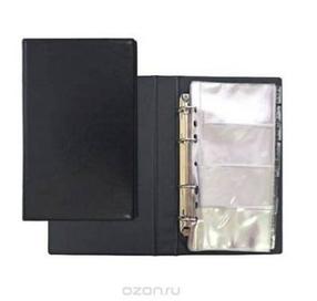 Визитница на 160 визиток, с разделитем A-Z, 113x195мм, черная Bindermax