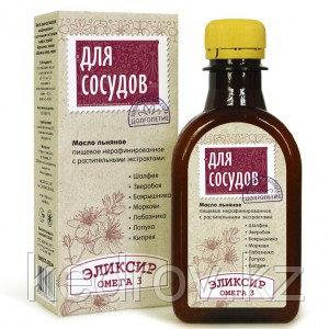 """Эликсир """"Для Сосудов"""" - масло льняное с экстрактом шалфея, зверобоя, боярышника, моркови, лабазника, лопуха, к"""