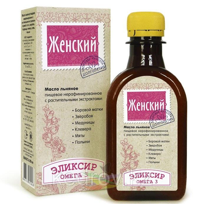 """Элексир """"Женский""""- масло льняное с экстрактом боровой матки, зверобоя, медуницы, клевера, мяты, полыни"""