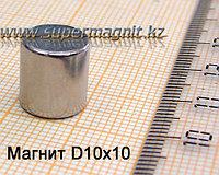 Неодимовый магнит (стержень) D10x10mm(Аксиал)42 (сила притяжения 3,2 кг)