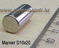 Неодимовый магнит (стержень) D10x20mm(Аксиал) (сила притяжения 4,2 кг)