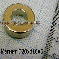 Неодимовый магнит D20xd10xh5mm(Аксиал) (сила притяжения 5,9 кг)