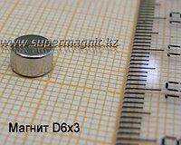 Неодимовый магнит D6x3mm(Аксиал)42 (сила притяжения 0,9 кг)