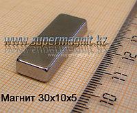 Неодимовый магнит 30x10x5mm 42 (сила притяжения 6 кг)
