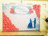 3Д баннер из бумажных цветов, пресс-стена, фотозона Астана, баннер на свадьбу, 3D