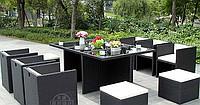 Набор мебели, стол + 6 стульев + 2 пуфа