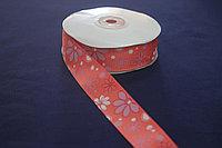Репсовая лента с рисунком (Цветы) 2,5 см.
