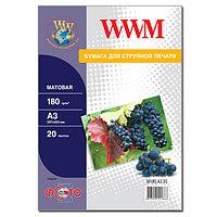 Фотобумага WWM матовая 180г/м кв, A3, 20л (M180.A3.20)