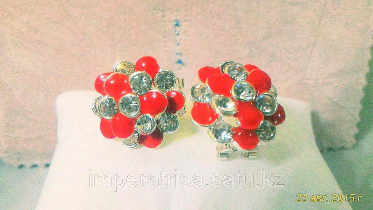 """Серьги """"Красные цветы"""""""