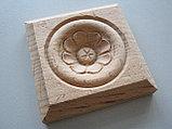 Розетка деревянная квадратная с цветком  (70*70) F - 5., фото 2