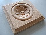 Розетка деревянная квадратная с цветком (60*60) F - 5(a)., фото 2