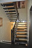 Лестница на больцах c деревянными ступенями, фото 2