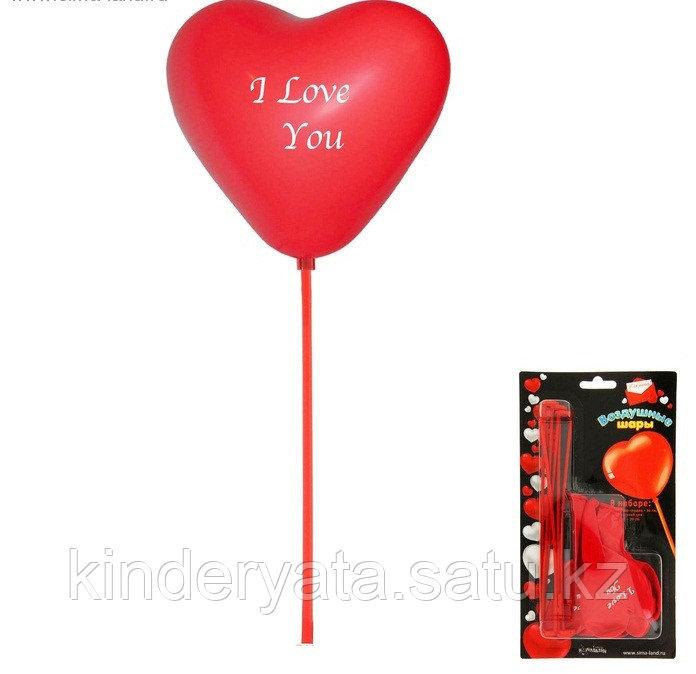 """Воздушные шары """"Сердца"""", 30 см, набор с палочками (6 сердец + 6 палочек)"""