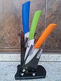 Набор керамических ножей с цветными ручками 3 шт и овощечистка, фото 3