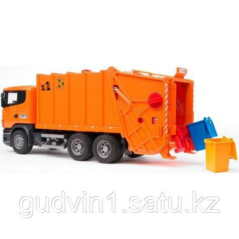 Мусоровоз Scania (цвет оранжевый) (подходит модуль со звуком и светом Bruder (Брудер)Артикул: 03-560