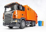 Мусоровоз Scania (цвет оранжевый) (подходит модуль со звуком и светом Bruder (Брудер)Артикул: 03-560, фото 2