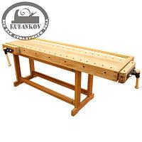 Верстак столярный 2000*600мм, деревянный, с двумя тисками и лотком