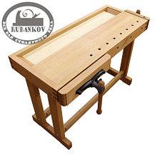 Верстак деревянный, 1200*500мм, с двумя тисками (передние - быстрозажимные), с лотком