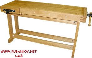 Верстак столярный деревянный 1500*500мм, с двумя тисками, без лотка