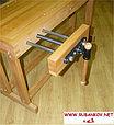 Верстак столярный деревянный 1500*500мм, с двумя тисками, без лотка, фото 4