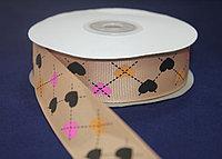 Репсовая лента с рисунком (Сердечки) 2,5 см.
