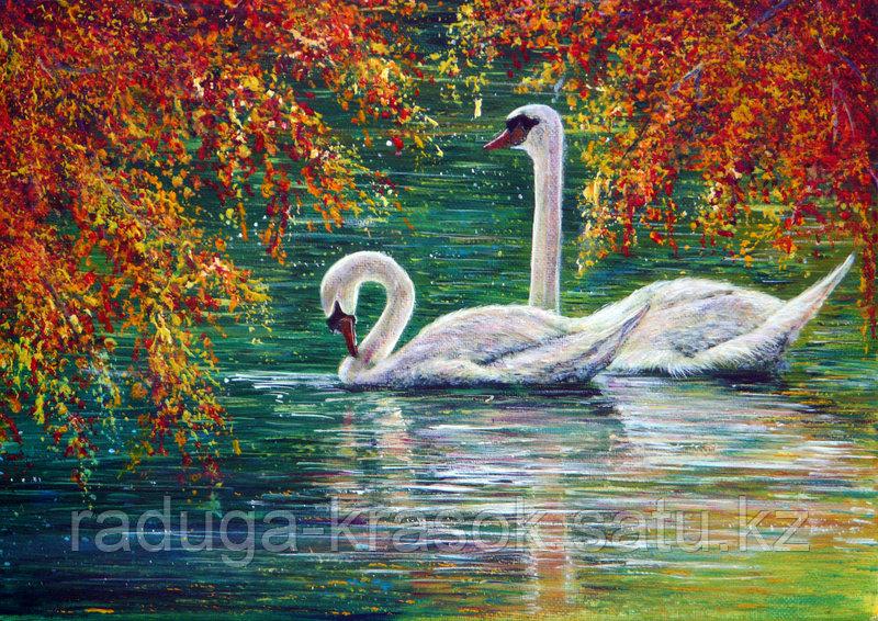 """Картины по номерам - """"Лебеди в осеннем парке"""""""