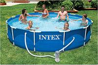 Каркасный сборный бассейн Intex Metal Frame Pool. 366 х 76 см. с фильтром