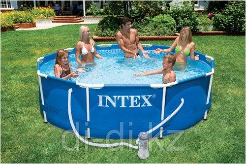 Каркасный сборный бассейн Intex Metal Frame Pool.  305 х 76 см. с фильтром