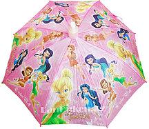 Зонт детский Тинкер Бель (Феи) трость со складным пластиковым чехлом розовый