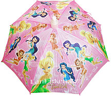 """Зонт-трость розовый """"Tinker Bell"""" (Феи) со складным пластиковым чехлом"""