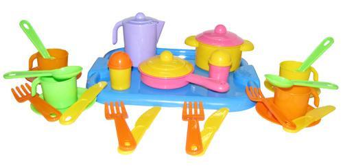 """Набор детской посуды """"Настенька"""" с подносом на 4 персоны 3964"""