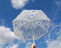 Кружевной женский белый зонт, прозрачный зонт трость