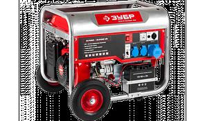 Генератор ЗУБР бензиновый, 4-х тактный, ручной и электрический пуск, колеса + рукоятка, 6200/5700Вт, 220/12В
