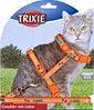Trixie Шлейка для кошек и мелких собачек с рисунком, нейлон 22-36см/10мм, поводок 1,20м