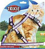 Trixie Шлейка для крупных кошек и мелких собачек с рисунком, нейлон 34-57см/13мм, поводок 1,20м