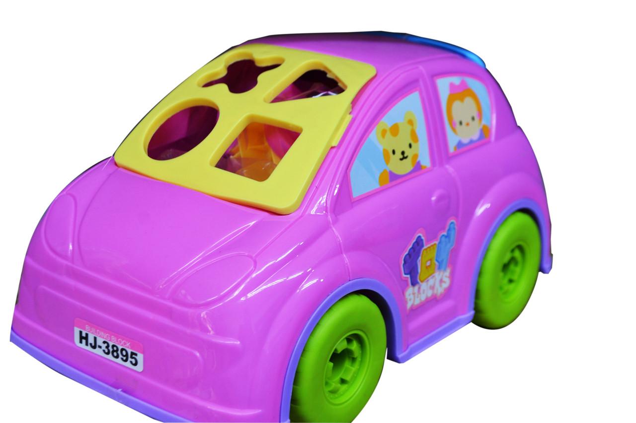Машина конструктор розовая сортер