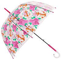 Женский прозрачный Зонт трость полуавтомат из ПВХ пленки, зонт купол