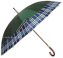 Мужской зеленый зонт трость, зонт в клетку с деревянной ручкой