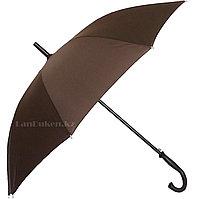 Мужской коричневый зонт-трость, зонт полуавтомат с деревянной ручкой