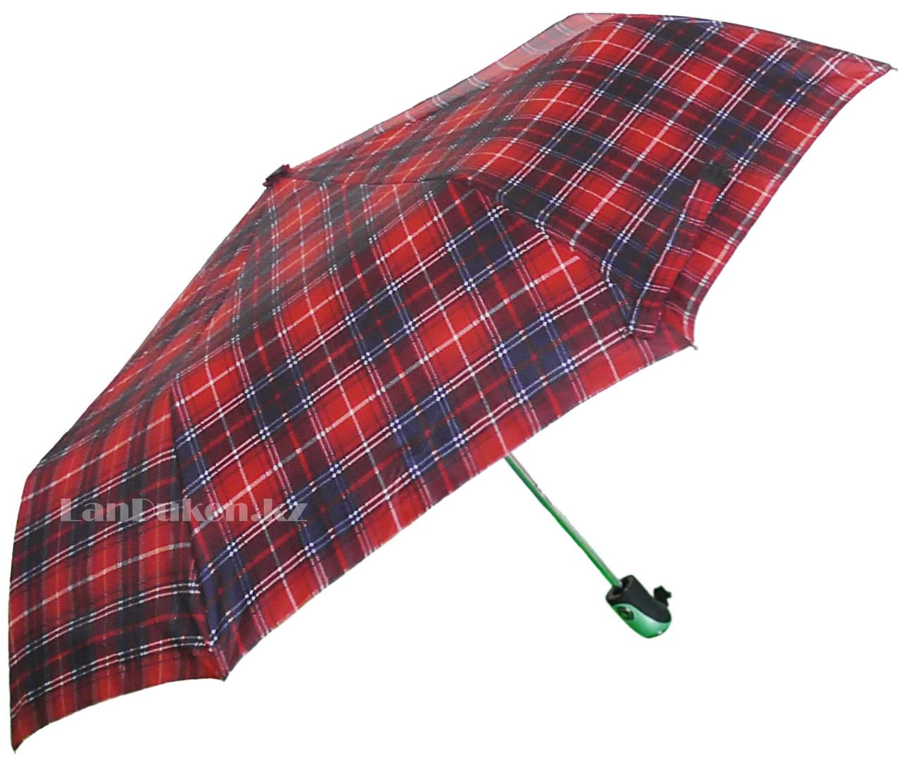 Женский складной зонт Три слона красный в клетку