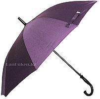 Мужской фиолетовый зонт-трость, зонт полуавтомат с деревянной ручкой