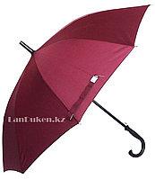 Мужской бордовый зонт-трость, зонт с деревянной ручкой