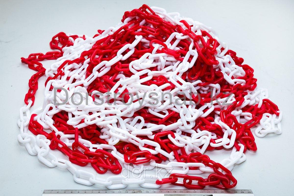 Цепь пластиковая  красно белая 8 мм ТОО ДорСтройСнаб +77079960093