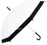 Женский зонт трость, белый зонт полуавтомат